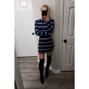 H&M Divided Blue And White Striped Bodycon Dress